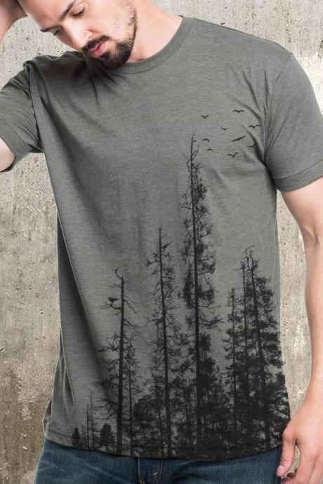 Men's Pine Tree Forest T-Shirt - Screen Printed Men's T-Shirt