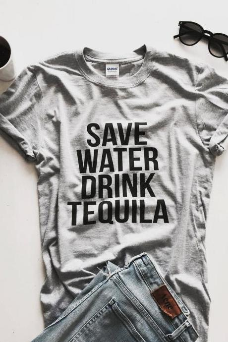 save water drink tequila Tshirt gray Fashion funny slogan womens girls ladies lady gift present party summer
