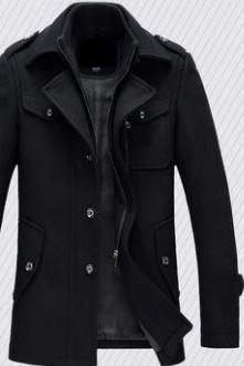 Winter trench coat for men fashion jackets woolen men's jacket double collar warm woolen