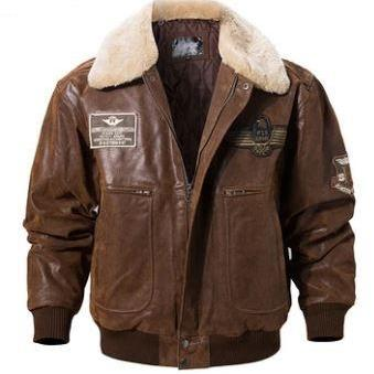 New Men's Real Leather Bomber Jacket with Removable Fur Collar Genuine Leather Men